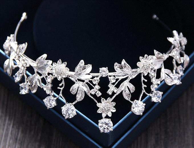 Zircon Metal Flower Tiara Zirconia Crown Hair Jewelry Bridal Headpiece Wedding Hair Accessories Bijoux Cheveux De Tete WIGO1049