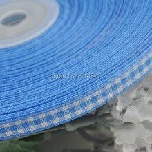 2/8″ 6mm Blue tartan plaid ribbon bows appliques craft/sewing/doll Lots U pick 50Yard
