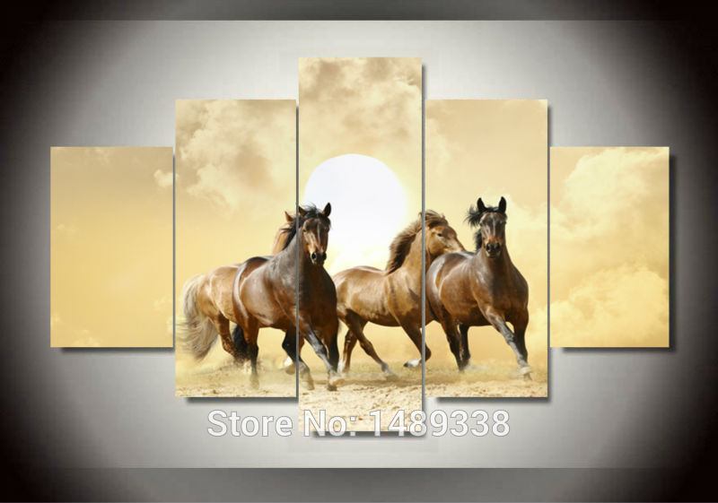 artwork painted framed animal running horses painting modern art print painting pictures decor painting large living