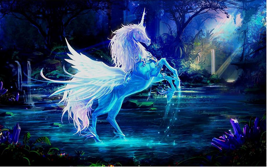 customize 3d modern wall mural Unicorn oil painting background 3d