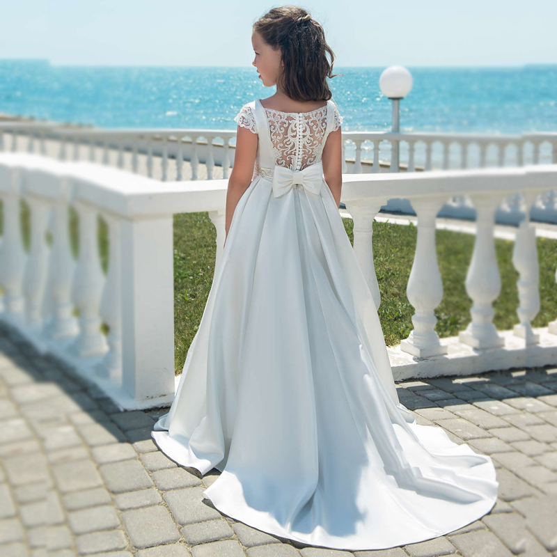 New   Flower     Girls     Dresses   Beading Sash Cap Sleeves Chapel Train with Bow Lace Back   Girls   Holy First Communion Princess   Dresses