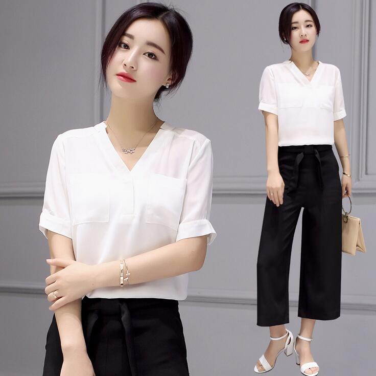 Blusas Y Camisas Mujer Summer Women White Chiffon Blouses Casual Women's Tops Shirts With Two Pockets And Black Wide Leg Pants