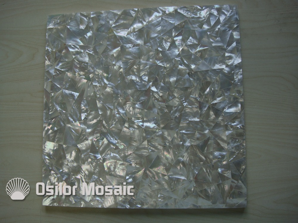 Natural white color triangle pattern 100% sea shell white mother of pearl tile for interior house decoration wall tile white color natural 100% capiz shell mother of pearl mosaic tile for living room or ceiling