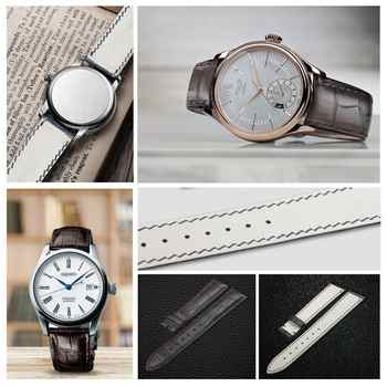ZLIMSN Brown Crocodile Leather Strap Fashion Bamboo Pattern Hand-Sewn Luxury Comfortable Men and Women Strap 12mm-26mm