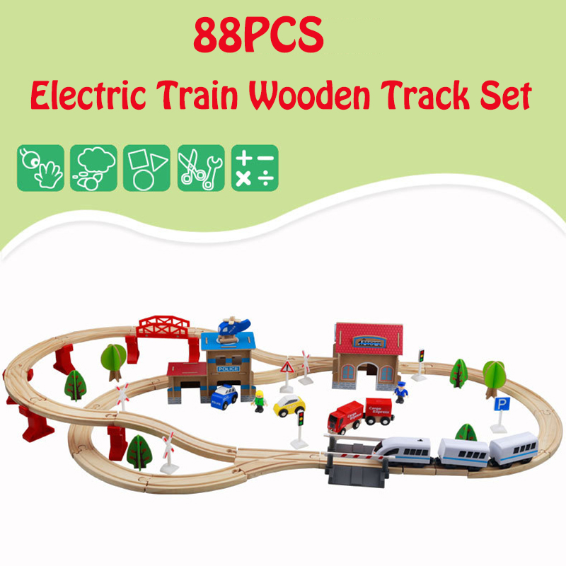 88PCS Wooden Train Track Railway plane Set Magnetic Car Model Puzzles Wooden Railway Early Educational Toys For Children Friends