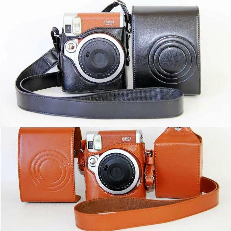 Black / Brown PU Leather Case Cover Set For Fuji Fujifilm Instax Mini 90 Digital Camera Bag Case With Strap