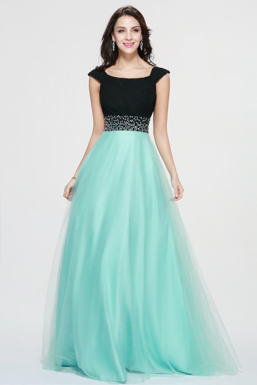 Elegant Black And Green Long Prom Dress Two Color Long Formal Party ...
