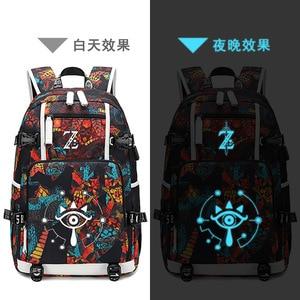 Image 4 - The Legend of Zelda:Breath of the Wild Game Printing Zelda Backpack Canvas School Bags USB Charging Laptop Backpack Travel Bags