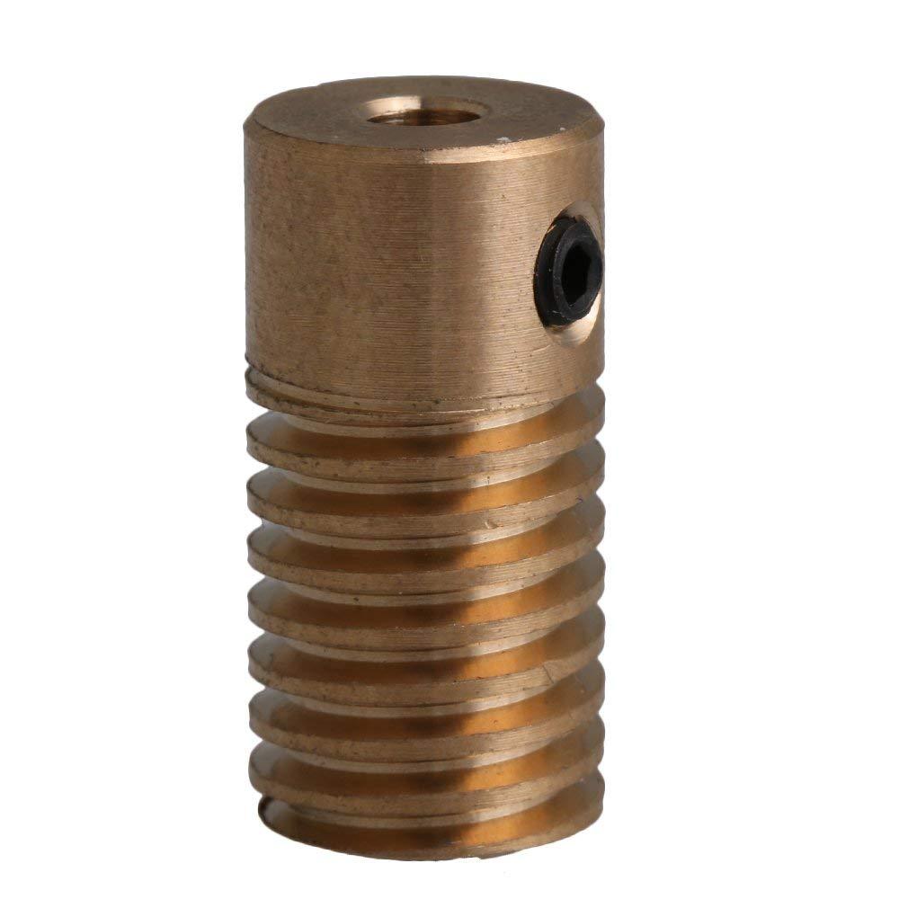 Yellow 0.5 Modulus 5MM Hole Diameter Brass Worm Gear Shaft For Drive Gear Box Worm Wheel(Inner Dia 3mm 4mm 5mm 6mm))