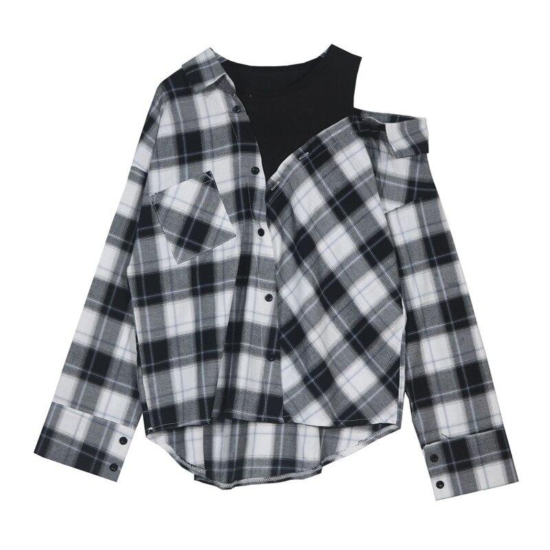 False two pieces off-shoulder women Plaid Shirt female loose coat design irregular fashion blouse tops ...