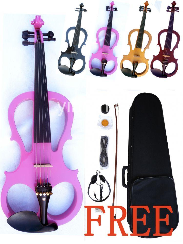 black 4/4 High quality  Electric violin 3# 4 4 high quality 5 string electric violin yellow 2 pickup violin