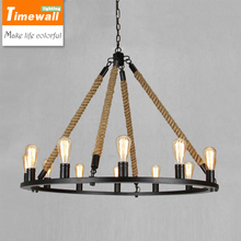 American loft retro industrial wind iron lamp lamp personality living room restaurant coffee bar Taiwan rope Chandelier