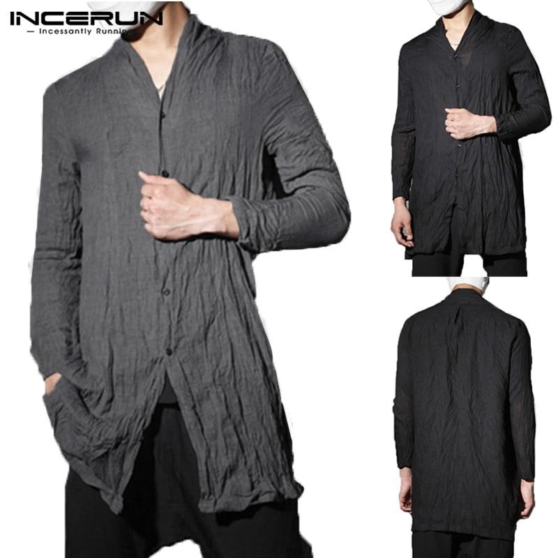 2020 Fashion Mens Shirt Kimono Japanese Long Shirts Retro Streetwear Hiphop Cardigan Outwear Traditional Open Stitch Shirts