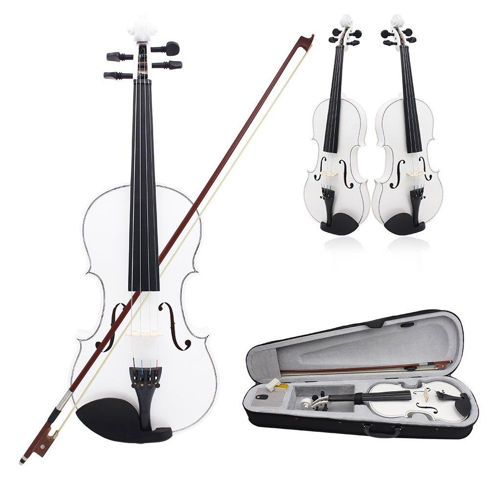 Fehér tömörfa természetes 4/4 teljes méretű hegedű hegedű - Hangszerek