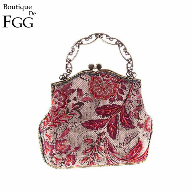 Classic Chinese Style Women Red Floral Embroidery Beaded Handbag Clutch Bridal Wedding Party Cocktail Frame Metal Clutches Bag
