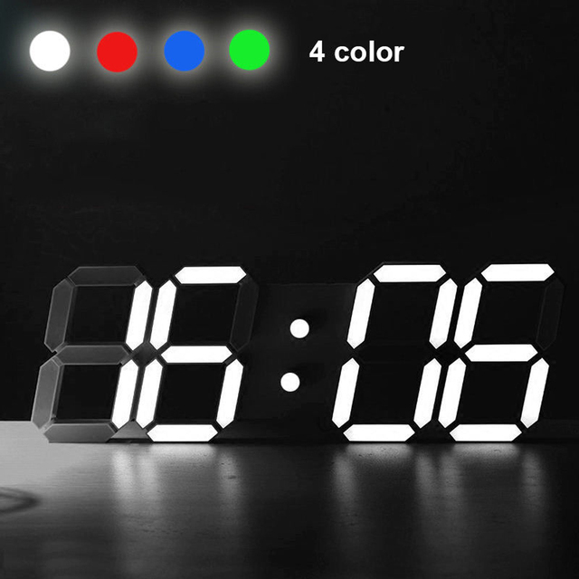 2017 New Arrival LED Rectangular 3D Digital Clock Table Alarm Watch 24 or 12 Hour Display Home Wall Decoration Clock