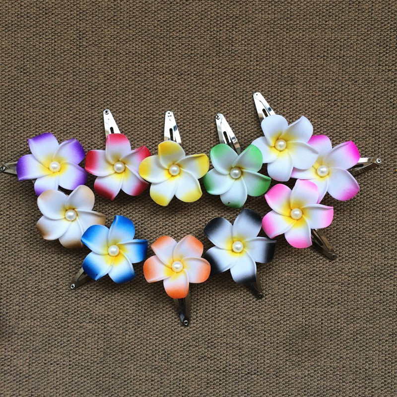Happy Kiss 12pcs Mixed Color Foam Hawaiian Plumeria Flower Frangipani Flower Bridal Hair Clip 4cm Folower Party Wedding Gift