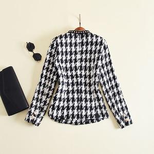 Image 3 - Yüksek sokak yeni moda 2020 tasarımcı ceket kadın tek düğme perçin ekose tüvit yün ceket ceket