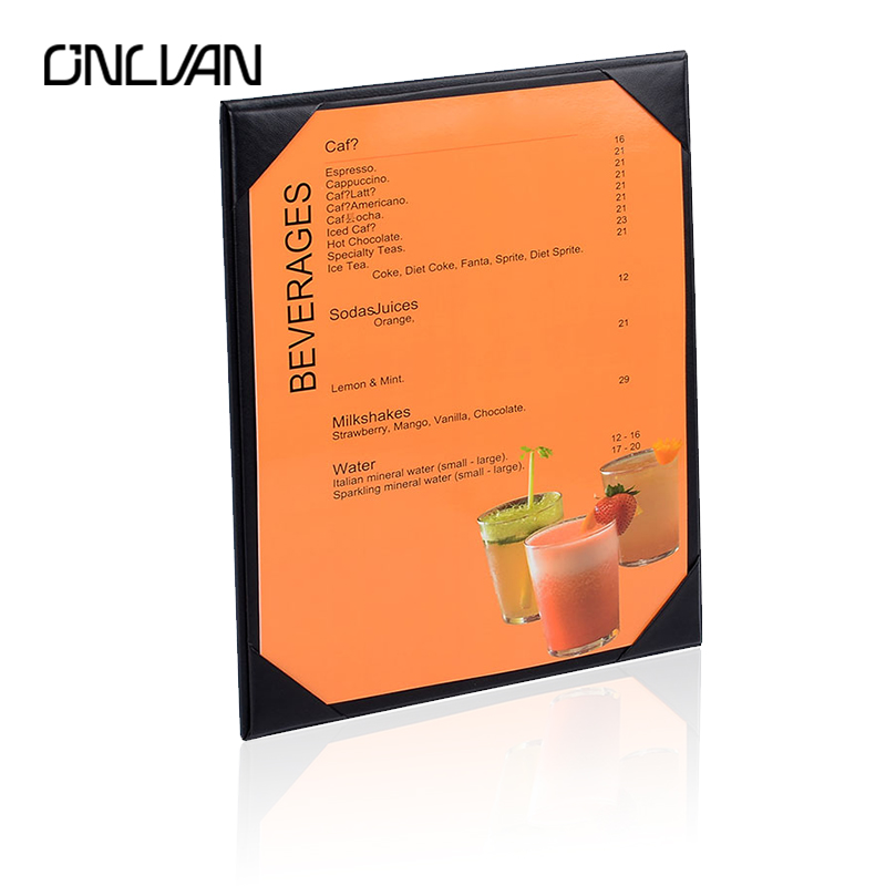 ONLVAN Restaurant Menu Cover PU Leather Menu List Holder Black Menu Folder Hotel List Cover Display Accept OEM Menu Case brown genuine leather menu holder restautant menu cover money receipt high quality accept customized order print your own logo