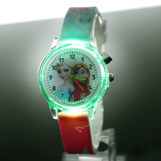 Pincess Elsa Kids Watches Colorful Flash Light Electronic Children Watch Girls Birthday Party Gift Clock Wrist Dropshipping