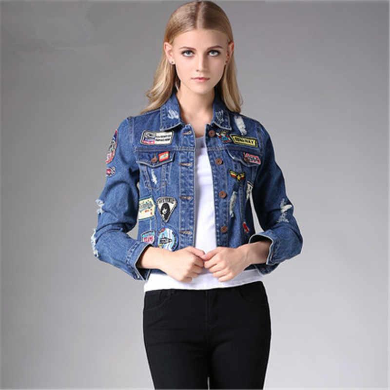 b2329260985 2018 Spring Autumn Women Short Jean Jacket Coats Casual Vintage Pocket Denim  Jacket Clothing Patch Badge