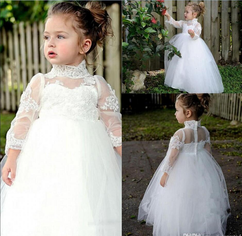 2017 Lovely Lace High Neck Flower Girls Dresses Long Sleeves 2017 Tulle Ball Gowns Little Kids Skirts Zipper Floor Length 2017
