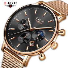 New LIGE Mens Watches Top Brand Luxury Fashion Ultra Thin Quartz Watch Men Moon Phase Business Clock Sport Watch Reloj Hombre hot new men watches luxury quartz watch women ultra thin fashion casual business watch lover frosted case wristwatches quartz cd