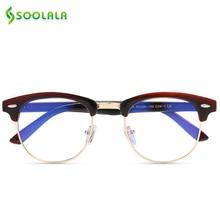 SOOLALA Anti Blue Ray Glasses Computer Protection Semi Rimless Light Blocking Lenses Optical Frame Prescription