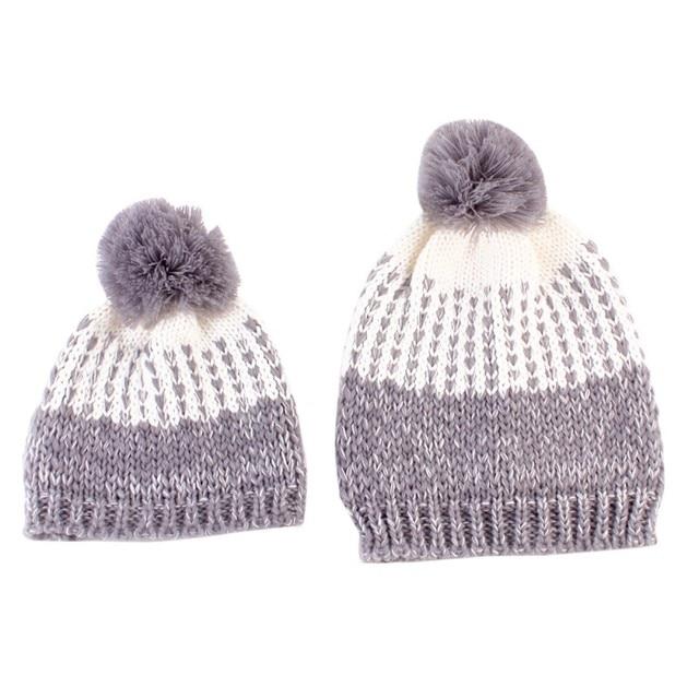 2 PCS ensemble Famille Chapeau Infantile D hiver En Tricot Crochet  Casquettes Faux Fur Beanie 667a2723d43