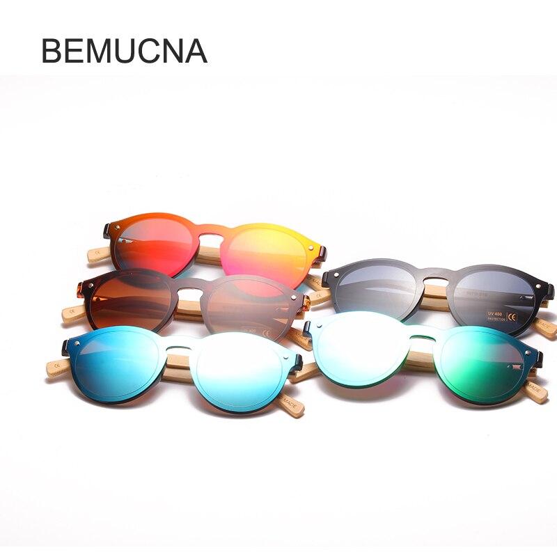 fc64ad8a8a9f Купить 2018 BEMUCNA новый раунд топ бамбуковые солнцезащитные очки с случае  брендов солнцезащитные очки Для женщин Ретро Конструктор из дерева солнцез.