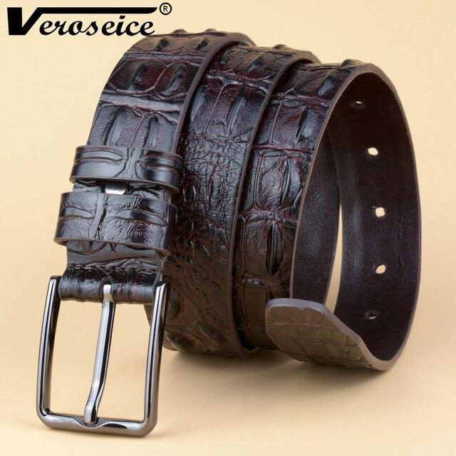 Mode De Luxe 3D Crocodile Peau Designer hommes ceinture En Cuir Véritable  Alligator de Jeans ceintures 56d456589f1