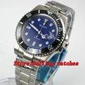 40 мм синий циферблат сапфировое стекло нержавеющая сталь черный керамический ободок светящиеся Мужские автоматические механические часы
