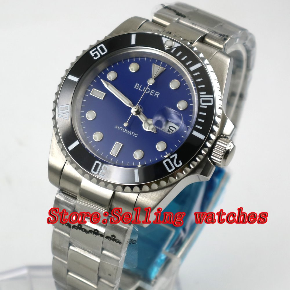 40mm Bliger blue Dial Sapphire Glass Stainless Steel black ceramic bezel Luminous Mens Automatic Mechanical Watch  40mm Bliger blue Dial Sapphire Glass Stainless Steel black ceramic bezel Luminous Mens Automatic Mechanical Watch