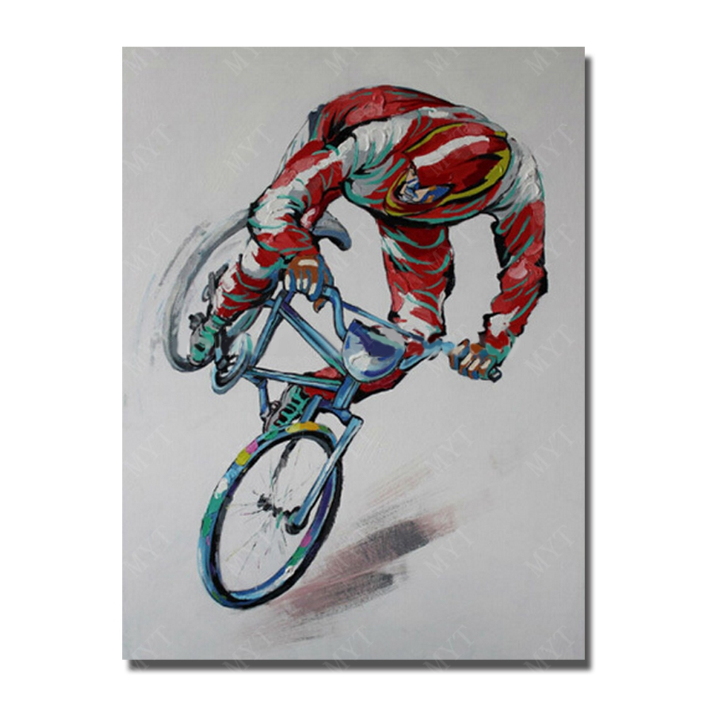The Man Ride Bicycle Oil Painting on Canvas Wholesale for Sale Hand painted Painting Home Decor No Framed and With framed