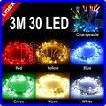 3 M 30 LED Jardín Fiesta de Navidad de Secuencia de Hadas de Año Nuevo LED Intermitente Decoración Guirnalda Al Aire Libre Luces de Navidad de La Batería JJ C-11