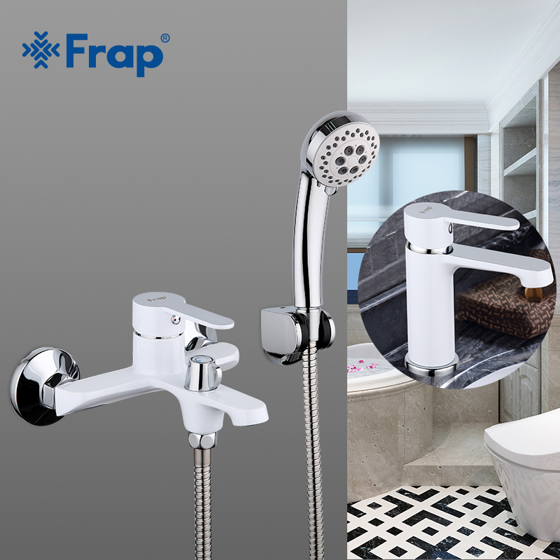 Frap Multi color Bathroom Shower Brass Chrome Wall Mounted Shower Faucet Shower Head sets black white