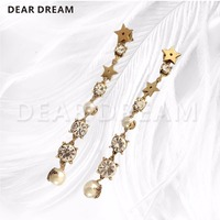 Fashion Cute Girl Jewelry Fashion Retro Star Crystal Pearl Long Tassel Earrings Ear Rings Lady Gift Jewelry