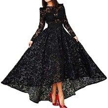Charming 2015 Black Long Evening Dress Robe De Soiree A Line Crew Neck Sleeve Lace Hi Lo Vestido