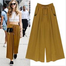 Moda Pantalones verano más tamaño mujeres Casual elástico cintura suelto pantalones  Harem pantalones Palazzo Culottes estiramiento 54e600ac24f