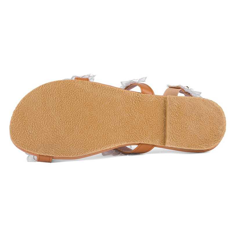 REAVE KEDI Kadın sandalet yaz ayakkabı düz inci çiçek sandalet rahat dize boncuk terlik bayan rahat ayakkabılar boyutu 34-43