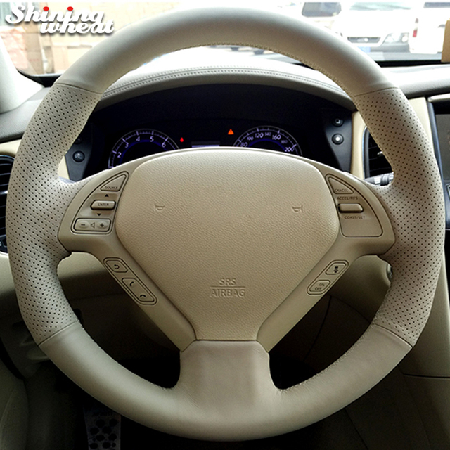 Shining wheat Hand-stitched Beige Leather Steering Wheel Cover for Infiniti QX50 G25 G35 G37 EX25 EX35 EX37 2008-2013