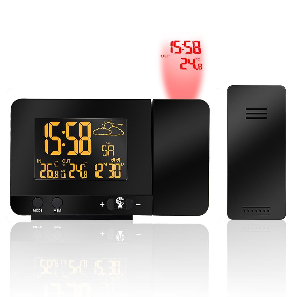 Alarme de Projection Horloge Radio-Commandé Numérique Réveil Double Alarme Snooze Fonction 100-240 v Station Météo Calendrier D'affichage