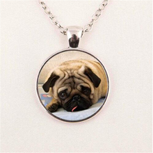 Glass Domed Pug Pendant Necklace