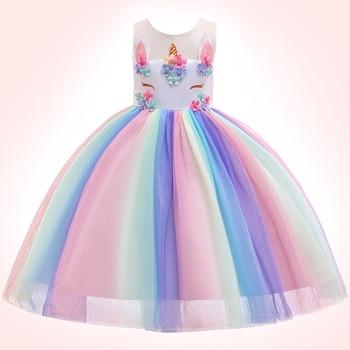 Unicorn Rainbow Embroidery Princess Dress