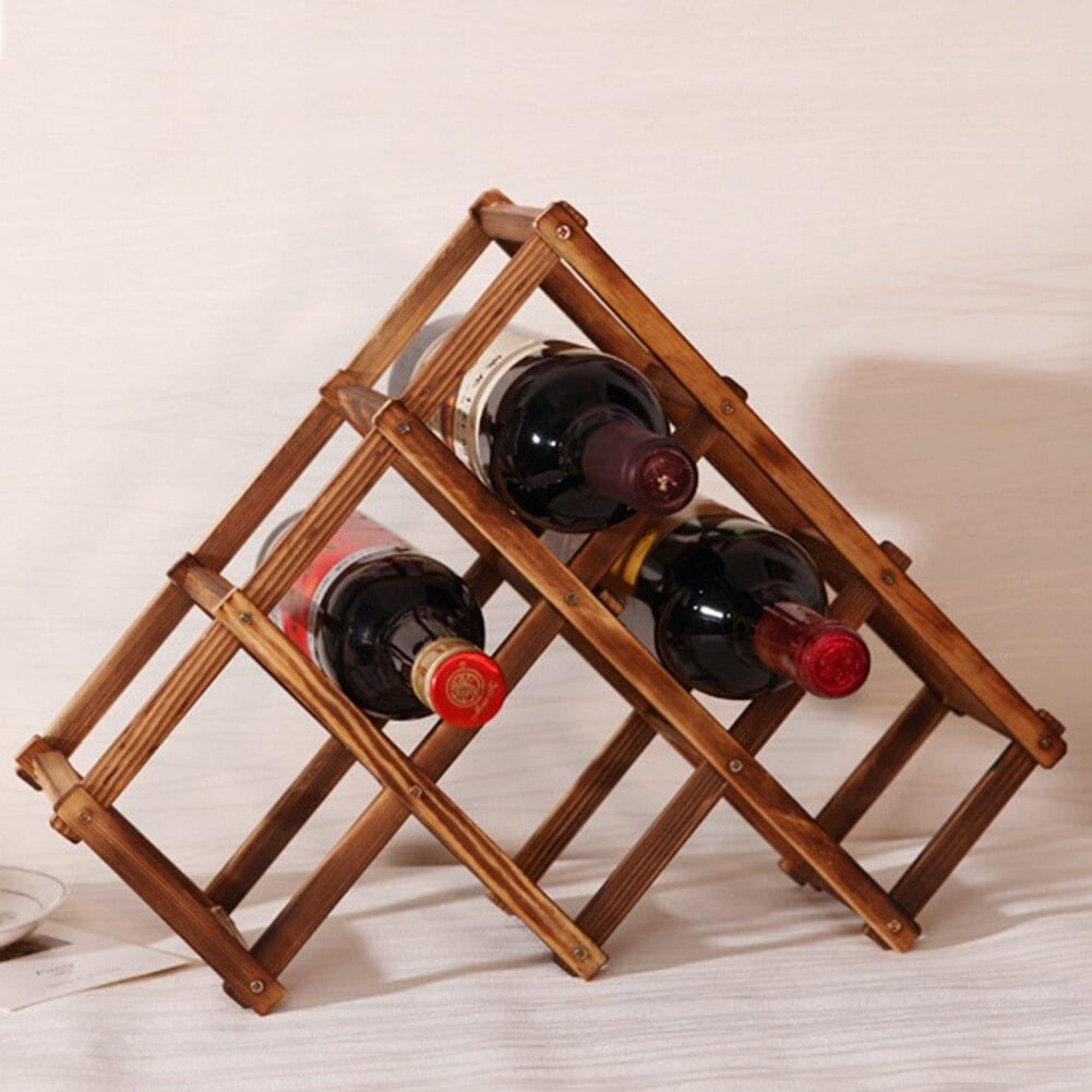 1pc high quality solid wood folding wine racks 6 wood wine holder kitchen bar display shelf