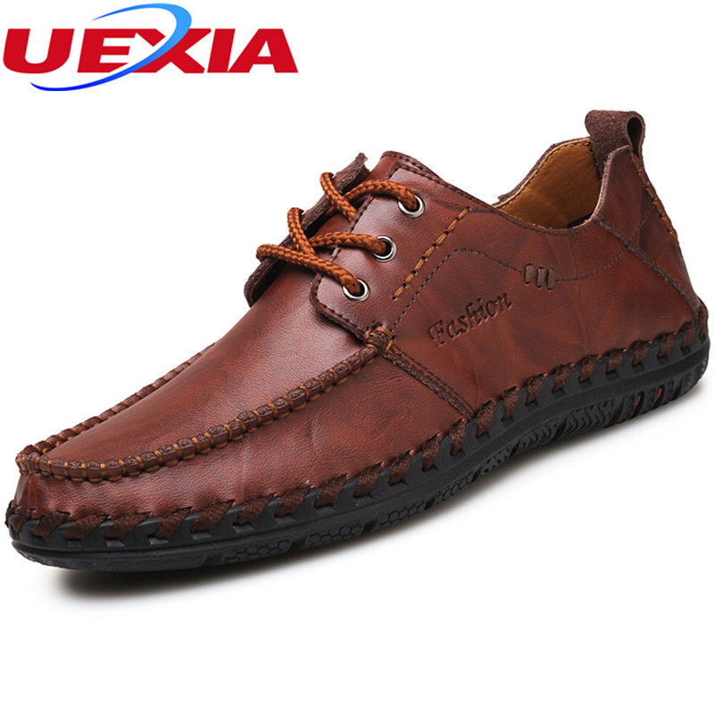 Leather Shoes Brogues Oxfords Flat Heels Round Toe Handmade Casual Moccasins Loafers Fashion Brand Flats Comfy Driving Men Shoes cyabmoz 2017 flats new arrival brand casual shoes men genuine leather loafers shoes comfortable handmade moccasins shoes oxfords