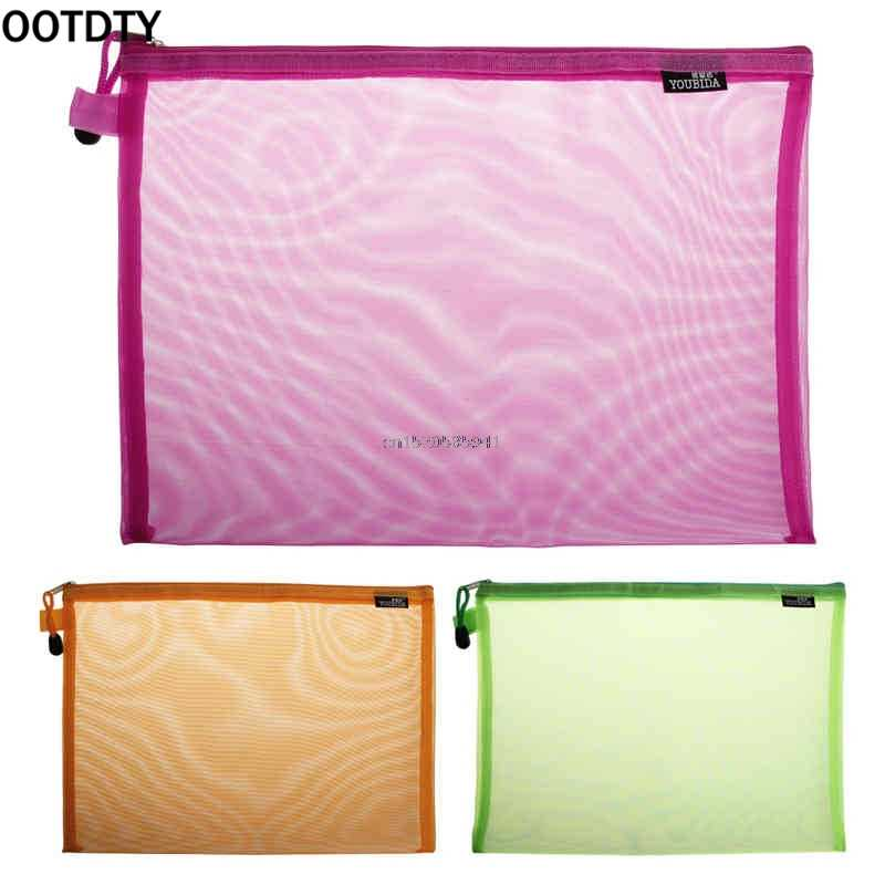 Nylon Fabric Document Bag A4 Size Zipper File Pocket Storage Organizer School Office Supplies