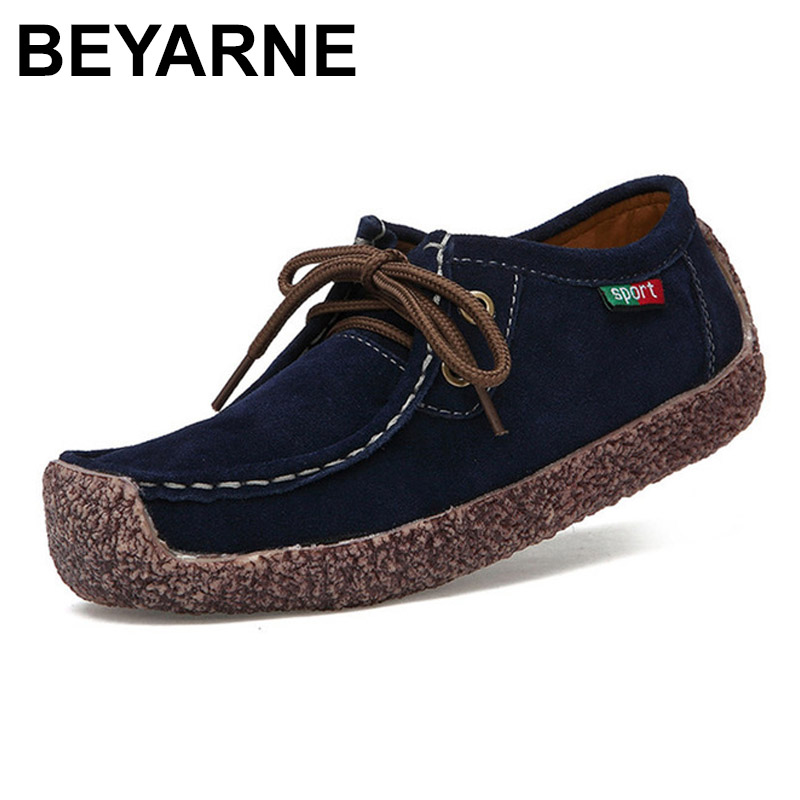 BEYARNE Fashion Woman Casual   leather   Shoes Wild Lace-up Women Flats Warm Comfortable Concise Woman Shoes Breathable Female Shoe