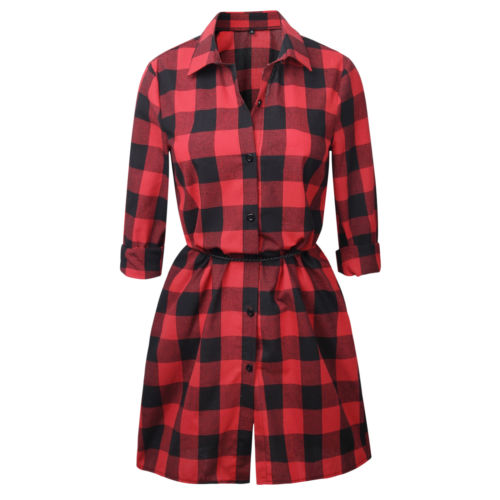 2017 hot womens plaid dress long sleeve casual women clothes redblack christmas women dress in dresses from womens clothing accessories on - Christmas Plaid Dress