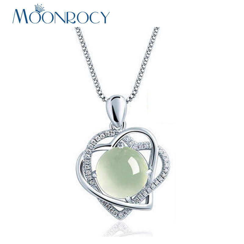 MOONROCY Drop Shipping Jewelry Silver Color Cute Sweet CZ Crystal Heart Ross Quartz Pink Opal Necklace for Women Girls Choker